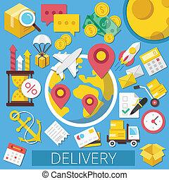 vector, entrega, plano, ilustración