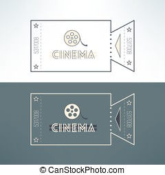 Vector entry cinema ticket in modern flat design with film. Admit one event pass for online tickets booking