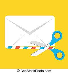 Vector Envelope and Scissors Icon