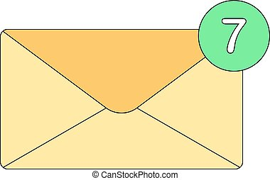 Vector envelope icon with the number of new notifications or emails. Email sign. Isolated on white background.