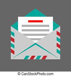 Vector envelope on gray background