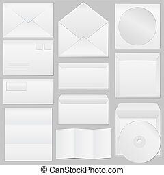 Set of different paper envelopes, vector eps10 illustration