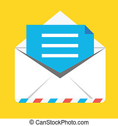 vector, enveloppe, geopend, pictogram