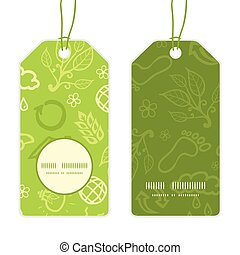 Vector environmental vertical round frame pattern tags set