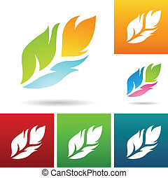vector eps illustration of colorful feather icons