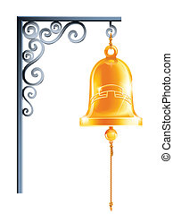 vector, eps10, campana, aislado, ilustración, soporte, retro, plano de fondo, blanco