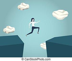 vector, eps10, illustration., empresa / negocio, éxito, encima, desafío, símbolo, saltar, abismo, hombre de negocios, courage., concept., riesgo