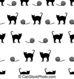 vector, eps10, patrón, seamless, pelota, gatos, negro, lana