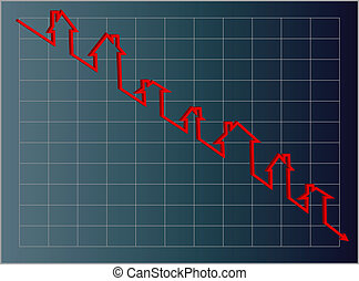 Vector Eps8, Housing Graph - Jpg. Blue housing graph with a...