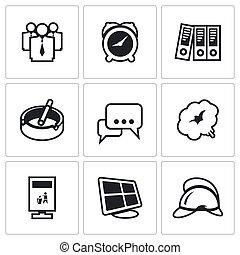 vector, equipo, conjunto, oficina, alarma de incendios, bombero, humo, icons., tiempo, vigilancia, urna, comunicación, documentación