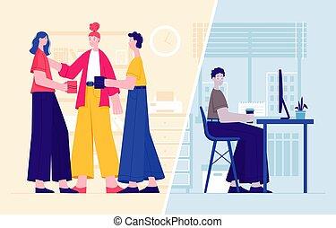 vector, equipo, ilustración, tipo, nuevo