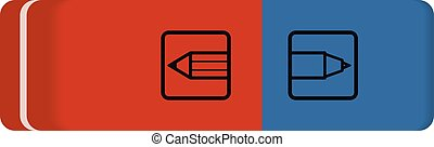 Vector eraser red and blue