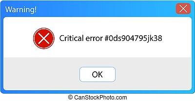 Vector Error Message, Warning Pop-up Window, Vintage User Interface, Background Frame.
