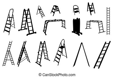 vector, escalera, conjunto, illustration., silhouette.