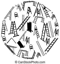 vector, escalera, conjunto, illustration., silhouette.