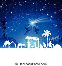 vector, escena natividad navidad, con, reyes, adoración, grupo