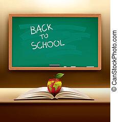 vector, escuela, concepto, espalda