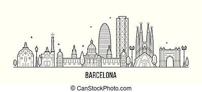vector, españa, edificios, contorno, ciudad, barcelona