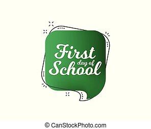 vector, espalda, icon., escuela, banner., primer día