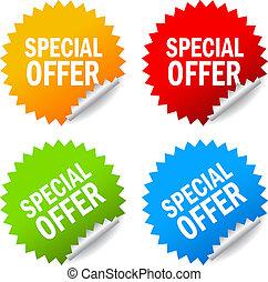 vector, especial, oferta, etiquetas