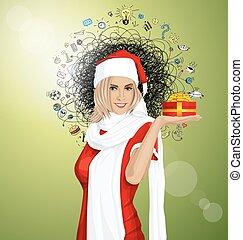 vector, esperar, mujer, navidad