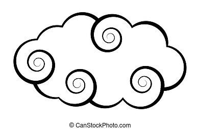 vector, espiral, nube