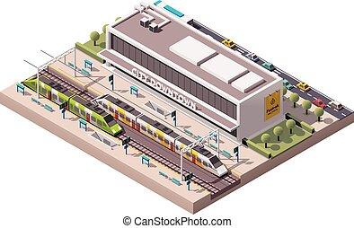vector, estación, isométrico, tren