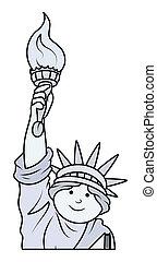 vector, estatua, libertad, caricatura