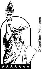 vector, estatua, libertad
