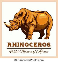 vector, estilizado, rinoceronte, en, vendimia, estilo, para,...