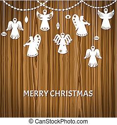 vector, estilo, corte, -, saludo, papel, alegre, ángeles, tarjeta de navidad