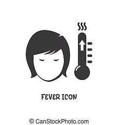 vector, estilo, plano, icono, fiebre, illustration., simple