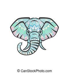 Vector ethnic elephant head