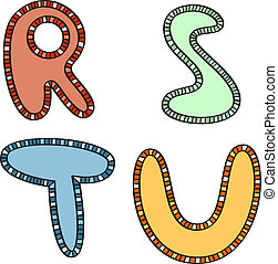 vector ethnic letters of latin alphabet