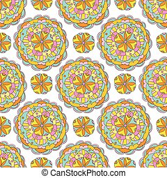 Vector ethnic seamless pattern with flower mandALA ornaments in bright pink and yellow colors. Geometric floral abstract motif