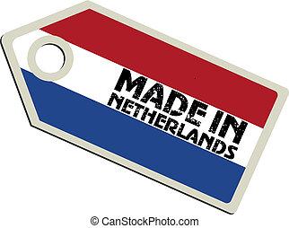vector, etiket, gemaakt, in, nederland