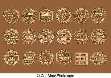 vector, etiketten, set, lineair, zakelijk, love., met de hand gemaakt, verpakking, grafisch, goods., gemaakt, communie, of, kaart