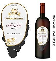 vector, etiqueta del vino