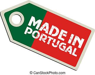 vector, etiqueta, portugal, hecho