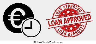 Vector Euro Credit Time Icon and Distress Loan Approved Stamp