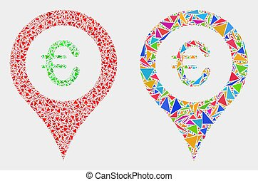 Vector Euro Map Marker Mosaic Icon of Triangle Elements