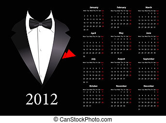 Vector European calendar 2012 with elegant suit, starting ...