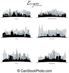 Vector european countries silhouettes