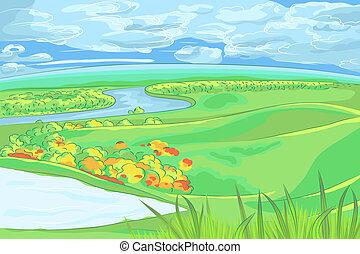 vector European flat landscape with river