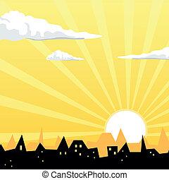 Vector Evening City