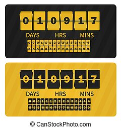 Vector Event presentation sale timer. Yellow black numbers counter template banner, all digits with flips included. Countdown clock digits board.