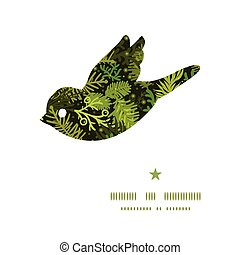 Vector evergreen christmas tree bird silhouette pattern...