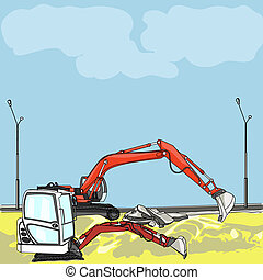 vector excavator at construction site - vector excavator at...