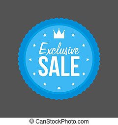 Vector Exclusive Sale flat blue Sign, Round Label