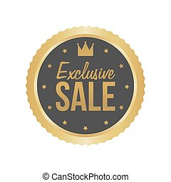 Vector Exclusive Sale Gold Sign, Round Label